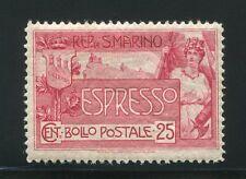 1907 San Marino Espresso 25 cent. rosa carminio nuovo integro **