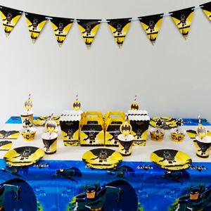 Batman Party Tableware Birthday Decoration Supplies Plates Straws Flag Cloth