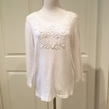 """Cable & Gauge White  3/4"""" Sleeve Tunic Top Sz Large"""
