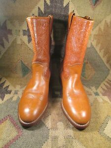 HY-TEST Brown Tooled Leather Steel Toe Cowboy  Boots Size 11.5 EE made in USA