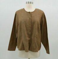 FLAX Shirt Blouse Womens 100% Linen M Medium Brown Lagenlook Jeanne Engelhart