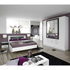 Schlafzimmer-Set Burano Kleiderschrank Bett Nachtkommoden in Weiß und Grau 4-tlg