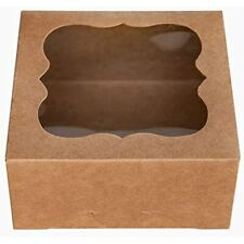6ampquotx6ampquotx3ampquotbrown Bakery Boxes With Pvc Window For Pie And Cookies Small