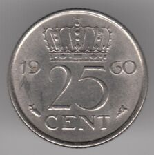 Netherlands 25 Cents 1960 Nickel Coin - Queen Juliana