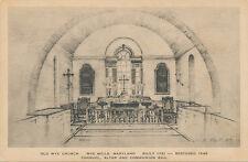 Wye Mills MD * Old Wye Church Interior ca 1949 * J.B. Moll Jr. Oxford Pub.
