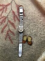 Vintage Ladies Bracelt Band Illusion Kaleidescope Watch SWISS 60s Style