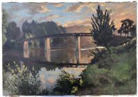 Tableau Ancien Huile ROBERT BUSSY Paysage Pont de Bougival Seine Coucher Soleil
