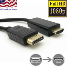 Gold Plated DisplayPort DP to HDMI PC Laptop HDTV Audio Video Cable 1080p 6 Feet