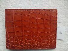 Red Brown - Handmade Genuine Alligator - Crocodile Premium Leather Bifold Wallet