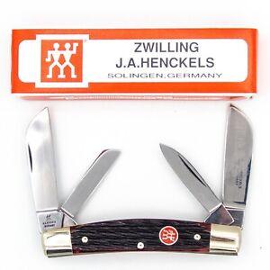 1980s ZWILLING J.A. TWIN HENCKELS Pocket Knife HK-1-B CONGRESS Red Bone MINT+BOX