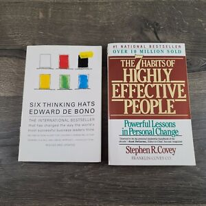 Lot of 2 Books: The 7 Habits of Highly Effective People and Six Thinking Hats
