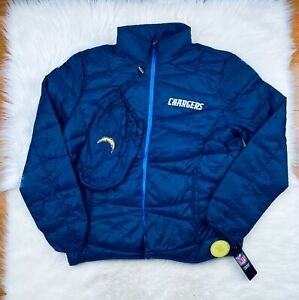 Los Angeles Chargers NFL Packable Puffer Jacket w Travel Bag, Navy, Men's XL