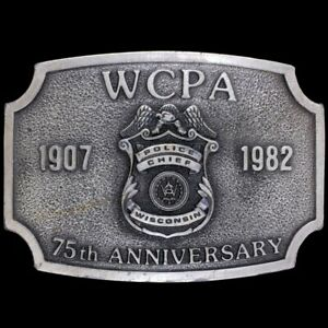 Vintage 80s WCPA Police Chief Wisconsin Officer Law Enforcement Belt Buckle