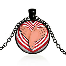 ASL Butterfly Black Dome glass Art Photo Chain Pendant Necklace