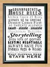 Grandparents House Rules Typography Art A4 Print Poster Photo Wall Decor Funny 1