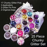 Chunky Glitter Festival Set 25 Piece Inc Glitter Fix Body Nails Eyes Tattoo UK