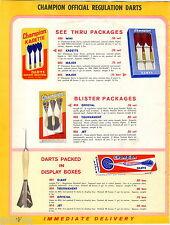 1963 ADVERT 8 PG Champion Dart Boards Dartgames Darts Haecker Nodor Bristle Hair