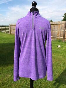 Under Armour Heatgear Lilac Purple Workout Top Size S Excellent Condition