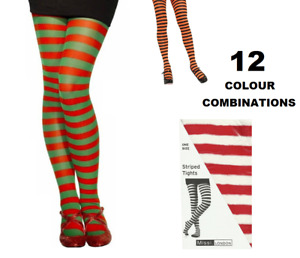 STRIPEY TIGHTS ONE SIZE VARIOUS COLOURS - FREE 1ST CLASS POST