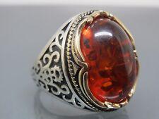 Turkish Handmade Jewelry 925 Sterling Silver Amber Stone Men Ring Sz 9