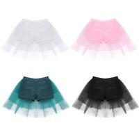 Kids Girls Ballet Dance Shorts Bottoms Attached Bustle Tiered Mesh Tutu Skirt