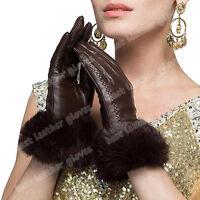 Warm Winter Women's Genuine Leather Gloves Lambskin With Rabbit Fur For Women