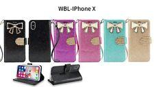 iPhone X Case,  PU Leather Sparkle Rhinestone Butterfly Wallet Case (WBL Black)