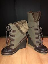 bca294a1d91 Tory Burch FAIRFAX Shearling Fur Lined Wedge Boots Expresso Olive Sz 8