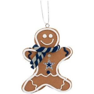 Dallas Cowboys Christmas Tree Holiday Ornament New - Gingerbread Man Iced Icing