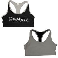 Reebok Black Gray Logo Reversible Racerback Sports Bra Womens M Medium