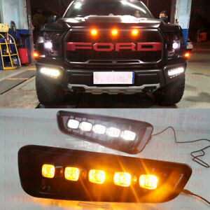 Exact Fit Switchback LED DRL Lights w/ Turn Signals For Ford F150 Raptor 2017-19
