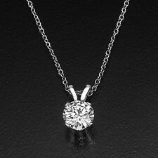 CHRISTMAS 2 CARAT SOLITAIRE ROUND DIAMOND PENDANT NECKLACE D/SI1 18K WHITE GOLD
