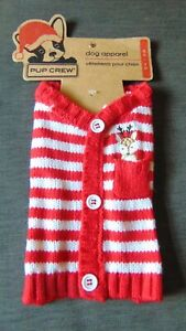 """Pup Crew Christmas Dog Jumper Knitted Reindeer S Chest 14-17"""" Red Stripe BNWT"""
