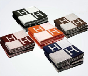 "55""X65"" H-Blanket Wool Cashmere Throw Plaid Blankets Shawl Sofa Aircraft Bedding"