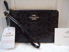Coach Signature Debossed Patent Leather Wristlet  Black  F 55206 NWT $ 85