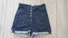 Topshop Blue Indigo Denim High Waisted Rise Hot Pants Shorts W26 UK 8