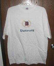 Detroit  Adult XXL White Embroidered 100% Preshrunk Cotton  T-shirt   Last One!