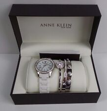 Anne Klein 12/2257SVST Silver Tone & White Ceramic 4 Piece Ladies Watch Set