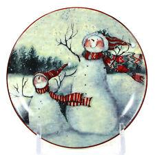 "MWW Market ENCHANTED SNOWMAN - MOTHER & CHILD 4.5"" Mini Plate Susan Winget"