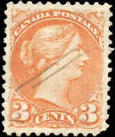 Canada Used 1873 3c VF Scott #37iii ORANGE RED PERF 11.5x12 Small Queen Stamp