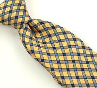 Turnbull & Asser 100% Silk Tie Yellow w/Blue/White Check Hand Made in England