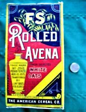 """Early box """"FS ROLLED AVENA OATS TRADE MARK 1875 1883 AMERICAN CEREAL CO CHICACO"""""""