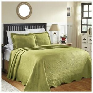 Superior Geometric Design Scalloped Bedspread Sweet Pea 2-pc Twin 100% Cotton