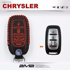 SMART KEYLESS Leather Keyfob Holder Case Chain Cover FIT For CHRYSLER PACIFICA 6