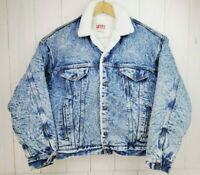 Vintage Levis Denim Trucker Jacket Fleece Acid Wash Snaps Mens Large Made In USA