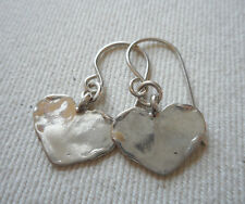 Small Lightly Hammered Sterling Silver Heart Dangle Earrings  RE248