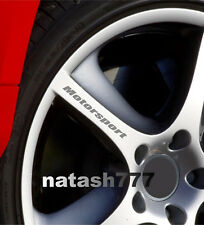 MOTORSPORT Decal Sticker Wheels Rims Sport Racing Car Emblem SILVER Set of 4