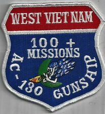 USAF AC-130 GUNSHIP PATCH -  'WEST VIETNAM'  '100 + MISSIONS'              COLOR