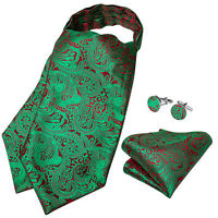 Mens Silk Red Green Paisley Cravat Ascot Tie Ring Necktie Handkerchief Cufflinks