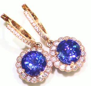 3.69CT 18K Gold Natural Tanzanite Diamond Vintage Halo Drop Engagement Earrings